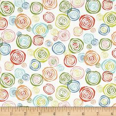 Interplay Layered Circles White from @fabricdotcom  Designed by Nancy Heffron for P&B Textiles, this cotton print is perfect for quilting, apparel and home decor accents.  Colors include white, blue, green, pink, orange, coral and aqua.