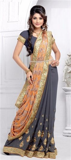 174199 Black and Grey, Orange  color family Embroidered Sarees, Party Wear Sarees in Brasso, Faux Georgette fabric with Border, Machine Embroidery, Stone, Thread work   with matching unstitched blouse.