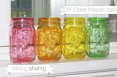 DIY Color Mason Jars! Do I really need to say anything more? Seriously, these jars are absolutely gorgeous and you wont believe how easy this technique is to do at home.  #craft #masonjar