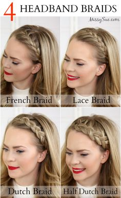 Four Headband Braids is a tutorial that will teach you how to do a French Braid Headband, Lace Braid Headband, Dutch Braid Headband, and Half Dutch Braid Headband. lace braid all the way. Mod's Hair, Hair Day, Prom Hair, Wavy Hair, Prom Updo, Tousled Hair, Fine Hair, Curly Blonde, No Heat Hairstyles