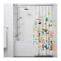 """IKEA - SÄVERN, Shower curtain rod,  , , The spring mechanism makes the shower curtain rod easy to install without screws or drilling.You can easily extend the rod from 51 1/8"""" to 94 1/2"""".Durable and easy to clean as it is made of stainless steel.No scratches or marks are left on walls or tiles thanks to the rubber caps on the ends."""