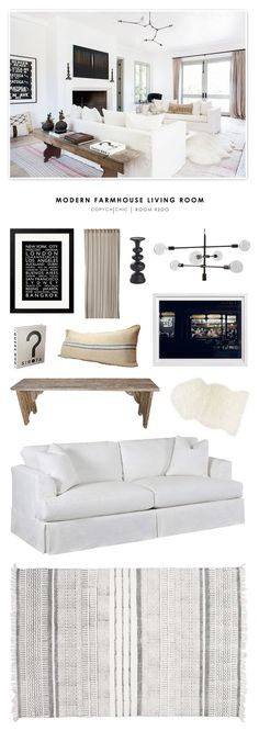 A bright and white modern farmhouse living room designed by Vanessa Alexander and recreated for less by budget room design. French Living Rooms, Coastal Living Rooms, Living Room White, Chic Living Room, White Rooms, Living Room Modern, Living Room Interior, Living Room Designs, Chandelier In Living Room