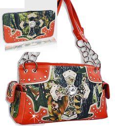 Orange Camouflage Rhinestone Forest Print Cross Handbag Purse W Wallet Set #HBM #ShoulderBag