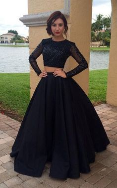 Long Sleeves 2 Pieces Prom Dress,Black shinny Pageant