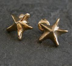 Ocean Dream 22k Gold Small Sea Star Shaped Stud by gazellejewelry - StyleSays