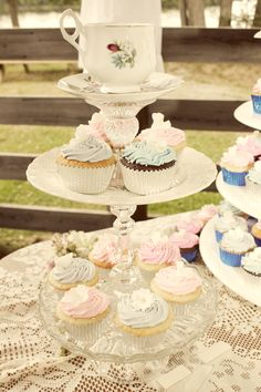 DIY Cup Cake Stand! This was fun to make. This is made up of antique plates, tea cups and cake stands, glued together.