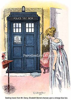 "Pride & Prejudice/ Doctor Who TARDIS Print. (Original artwork by C. (Charles Edmund) Brock for ""Pride and Prejudice"" by Jane Austen Dr Who, Brainstorm, Tardis Doctor Who, Diy Doctor, Elizabeth Bennett, Nerd Love, Don't Blink, Geronimo, Thats The Way"