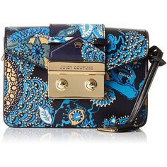 Juicy Couture Leather Mini Clutch with Flap Closure and a Gold Chain featuring polyvore, women's fashion, bags, handbags, clutches, crossbody handbags, leather handbags, leather clutches, mini pochette and crossbody purses