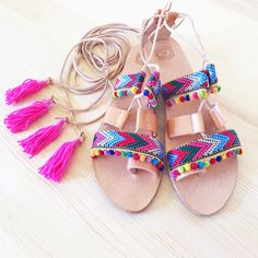c9733ccf9ad gladiator sandals, greek sandals, summer shoes, bohemian sandals, boho  style, bohemian clothing, hippie sandals, pom pom sandals