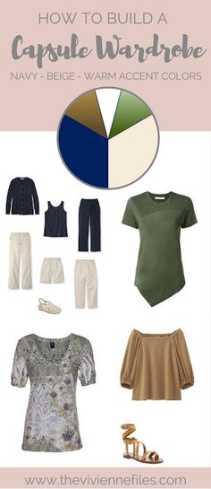 Warm Neutrals Camel and Mossy Green Accenting Navy and Beige