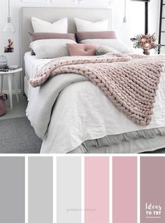 Bedroom colour palette - would look stunning with some gold accents! The perfect bedroom color palette! Bedroom ideas interior design bedroom makeover bedroom inspiration pretty bedding bedroom accessories home Pale Pink Bedrooms, Mauve Bedroom, Grey Bedroom Paint, Grey Bedroom Decor, Grey Paint, Mauve Bedding, Master Bedroom Grey, Blush Pink And Grey Bedroom, Grey Bedroom Colors
