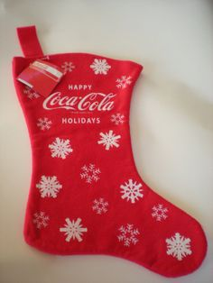 """Happy Coca Cola Holidays - Red Felt Coca Cola Stocking with White Snowflakes 18""""  tall"""