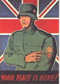 A Nazi propaganda poster, urging British men to join the German military. Nazi Propaganda, Diesel Punk, Ww2 Posters, Prisoners Of War, World War Two, Wwii, Illustration, British Men, Vintage Flag