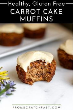 These naturally sweetened, easy-to-make carrot cake muffins are gluten-free, grain-free, and are packed with carrots, but who cares, because THEY TASTE JUST LIKE CARROT CAKE! #carrotcake #carrotcakemuffins #healthymuffins #glutenfreecarrotcake Gluten Free Carrot Cake, Easy Gluten Free Desserts, Carrot Cake Muffins, Gluten Free Breakfasts, Gluten Free Recipes, Breakfast Dishes, Breakfast Ideas, Breakfast Recipes, No Bake Oatmeal Bars