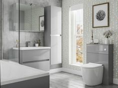 To make your bathroom look organized and well maintained it is wise to install freestanding bathroom furniture which can make your bathroom as efficient as your kitchen! Colour Schemes, Color Trends, Fitted Bathroom Furniture, Pebble Grey, Complete Bathrooms, Family Bathroom, Beautiful Family, Wall Tiles, Industrial Style