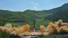 "The intercontinental ballistic missile Hwasong-14 is seen during its test launch in this undated photo released by North Korea""s Korean Central News Agency (KCNA) in Pyongyang, July, 4 2017."