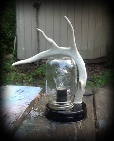 Deer Antler - Mason Jar desk lamp - real deer antler by FindleysDreamTree on Etsy