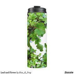 Shop Leaf and Flower Thermal Tumbler created by Kiss_A_Frog. Cool Mugs, Travel Mug, Tumbler, Water Bottle, Drinkware, Tumblers, Water Bottles, Mug, Mugs