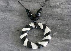 Black and White O-Ring Origami Necklace £15.00 Origami Necklace, O Ring, Pouch, Black And White, Sterling Silver, Handmade, Jewelry, Hipster Stuff, Hand Made