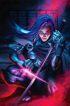 Psylocke from the X-Men. One of my favorite superheroes. Psylocke dos X-Men. Comic Book Characters, Comic Book Heroes, Marvel Characters, Comic Character, Comic Books Art, Comic Art, Book Art, Marvel Villains, Fantasy Characters