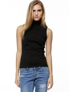Every Woman's Wardrobe Needs at Least One Black Blouse : Black Blouse With Sleeveless Roll Neck Top