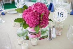 Hot pink hydrangea centerpiece.