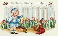 Baby & Bunnies ~ Vintage Easter, Children, Rabbits ~ Cross Stitch Pattern #StoneyKnobFarmHeirlooms #FramedPicture