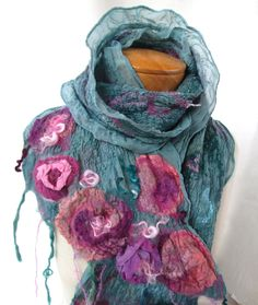 3dsilk mohair tendrils yarn ribbon fringe.....Nuno felt scarf in teal with pink roses by BlindSquirrel on Etsy