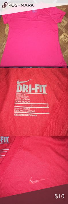 Red Nike Dri-Fit Shirt Bright red, Nike V-neck dri-fit shirt. Perfect condition. Nike Tops Tees - Short Sleeve
