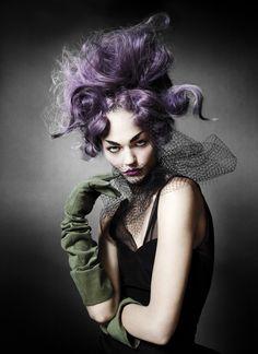 Lilac Avant Garde Hair | Model - Sasha Pivovarova | Photograph - Mario Testino -------------------------------------- {1 of 3}