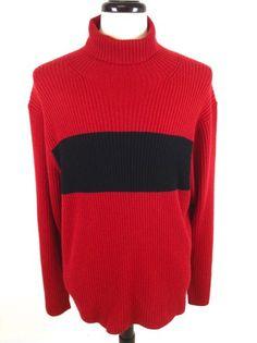 Ralph Lauren Sweater Wool Red Black Stripe Turtleneck Ribbed Mens XXL 2XL | eBay