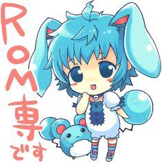 animal ears azumarill blue eyes blue hair chibi marill nintendo... ❤ liked on Polyvore
