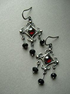 Sterling Silver Garnet and Black Onyx Chandelier Earrings, Victorian Renaissance by Jane Font. http://janefont.bigcartel.com/product/sterling-silver-garnet-and-black-onyx-chandelier-earrings-victorian-renaissance