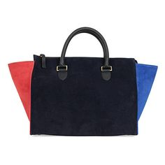 Sandrine Navy Color-Blocked Suede Handbags ($525) ❤ liked on Polyvore featuring bags, handbags, shoulder bags, pocket purse, colorblock handbags, navy handbag, clare v handbags and suede purse