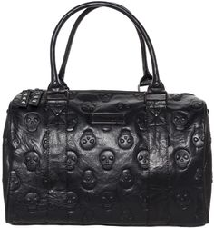 "EMBOSSED+SKULL+LARGE+DUFFLE+BAG -- by: Loungefly -- Black -- W: 15.5"" X H: 10"" X D: 8.5"" -- $80"