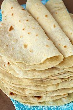 Best Ever Homemade Flour Tortillas  Ingredients: 3 cups flour  1 teaspoon salt  1 teaspoon baking powder  ⅓ cup vegetable oil  1 cup warm water