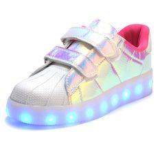 2017 caliente nueva primavera otoño niños zapatillas de deporte de moda luminoso iluminado led de colores luces niños boy girl shoes shoes casual plana