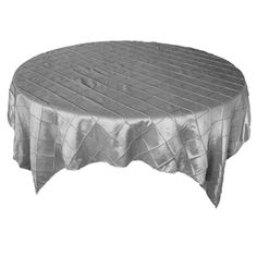 72 x 72 Silver Pintuck Table Overlay