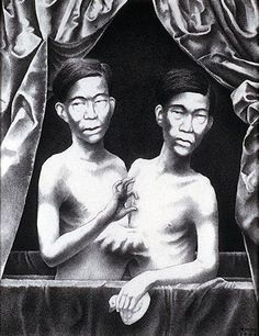 """The subjects of this portrait are Chang & Eng Bunker, the original """"Siamese Twins"""". Chang & Eng were born in 1811 to Chinese parents in Siam, which is now known as Thailand. As babies, the twins escaped a death sentence imposed upon them by King Rama II, who believed their birth was an ill omen."""