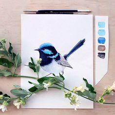 Ideas for blue bird tattoo canvases Gouache Painting, Fabric Painting, Watercolor Paintings, Bird Paintings, White Bird Tattoos, Bird Drawings, Watercolor Bird, Christmas Art, Bird Art