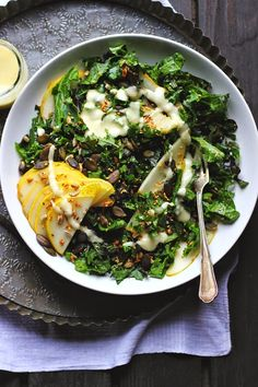 Kale Salad with Tamari Toasted Seeds + Fresh Pear Dressing ⎮ happy hearted kitchen