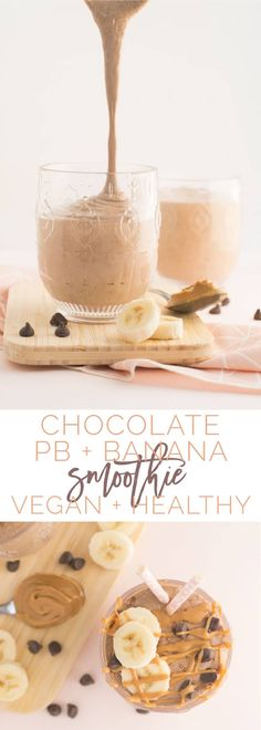 Chocolate Peanut Butter and Banana Smoothie -- This healthy vegan smoothie recipe only requires 5 ingredients and is perfect for breakfast or a midday snack. With tons of customizable options, you can make this smoothie to fit your taste buds! #cleaneating #vegan #healthy #chocolate #peanutbutter #smoothie | mindfulavocado