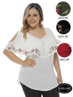 Blusas Plus Size Colombianas Bambu - Ref. Plus Size Summer Fashion, Plus Size Fashion For Women, Plus Size Womens Clothing, Clothes For Women, Plus Size Blouses, Plus Size Dresses, Plus Size Tips, Triathlon Clothing, Modelos Plus Size