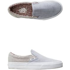 Vans Floral Chambray Classic Slip-on Shoe ($55) ❤ liked on Polyvore featuring shoes, sneakers, grey sneakers, slip-on shoes, blue floral shoes, vans sneakers and blue shoes