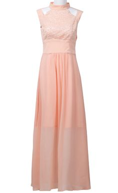Pink+Stand+Collar+Sleeveless+Hollow+Sequined+Dress+$66.13