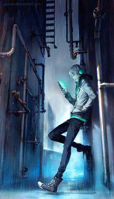 Under Rain by yuumei. #Cyberpunk #Art #gosstudio .★ We recommend Gift Shop: http://www.zazzle.com/vintagestylestudio ★