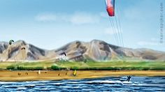 thumbnail digital sketch seascape with kite surfers