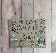 Details About Metal Wall Sign Family Is Where Life Begins Owls Flowers Hanging Plaque