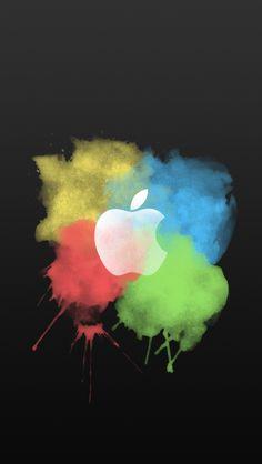 Paint Brush Color Splash Apple Logo Dark iPhone 5 Wallpaper.png 640×1.136 piksel