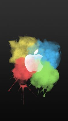 Paint Brush Color Splash Apple Logo Dark iPhone 5 Wallpaper #iPhone #wallpaper